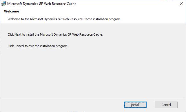 Microsoft Dynamics GP Web Resource Cache - Welcome