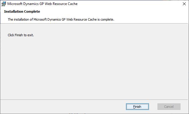 Microsoft Dynamics GP Web Resource Cache - Installation Complete