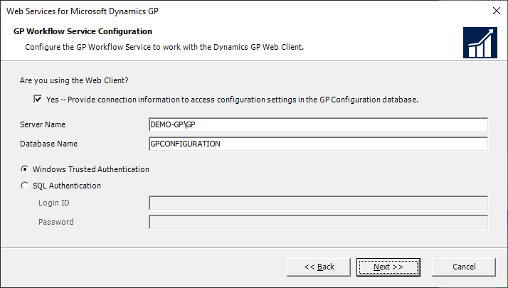 Web Services for Microsoft Dynamics GP - GP Workflow Service Configuration