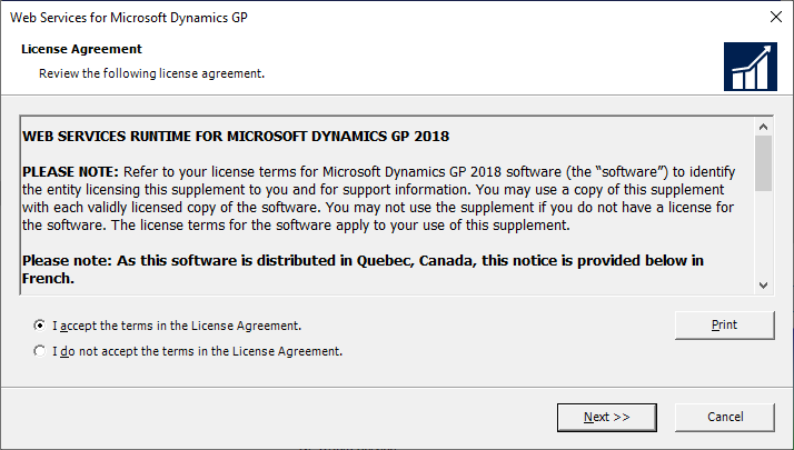 Web Services for Microsoft Dynamics GP - License Agreement