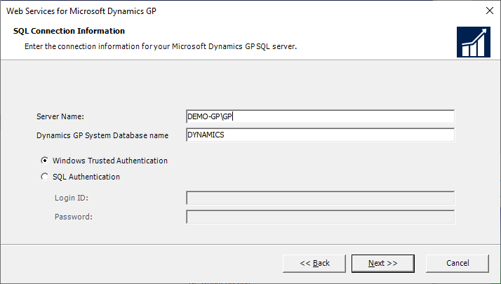 Web Services for Microsoft Dynamics GP - SQL Connection Information
