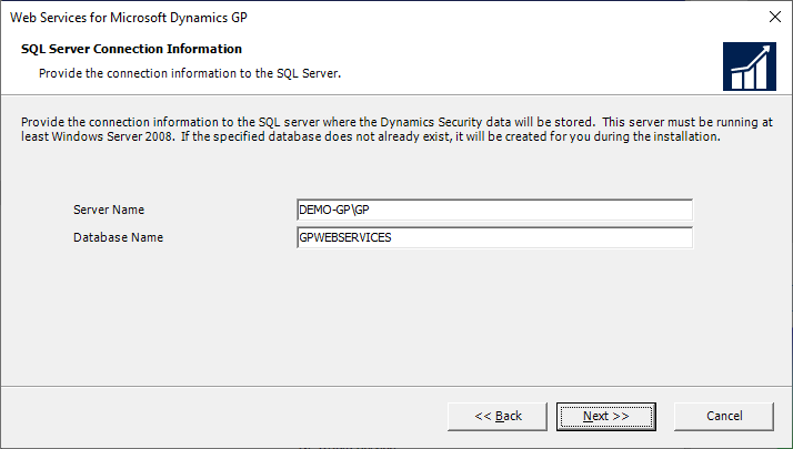 Web Services for Microsoft Dynamics GP - SQL Server Connection Information