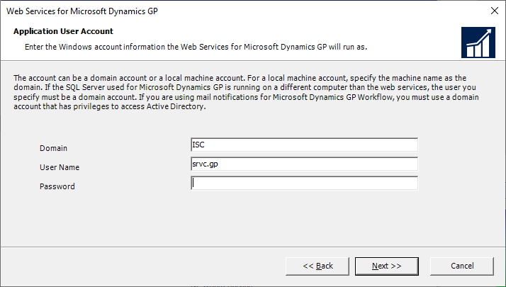 Web Services for Microsoft Dynamics GP - Application User Account