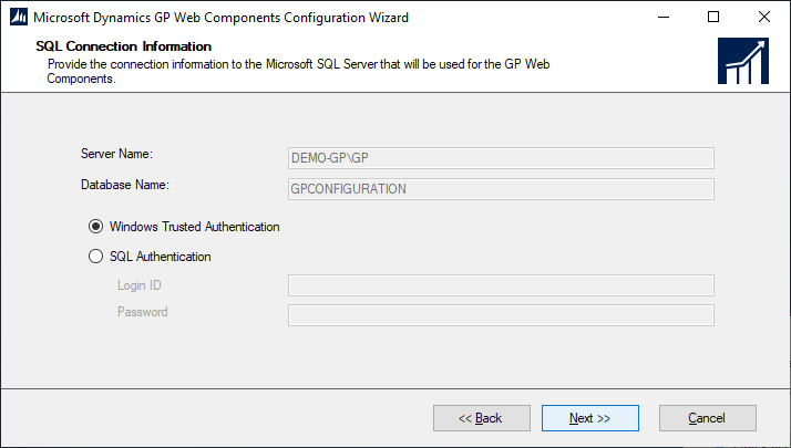 Microsoft Dynamics GP Web Components Configuration Wizard - SQL Connection Information