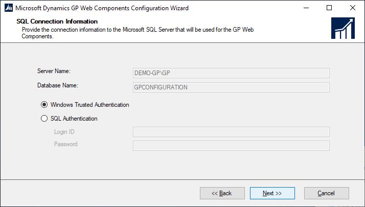 Microsoft Dynamics GP Web Components Configuration Wizard - SQL Connection Information