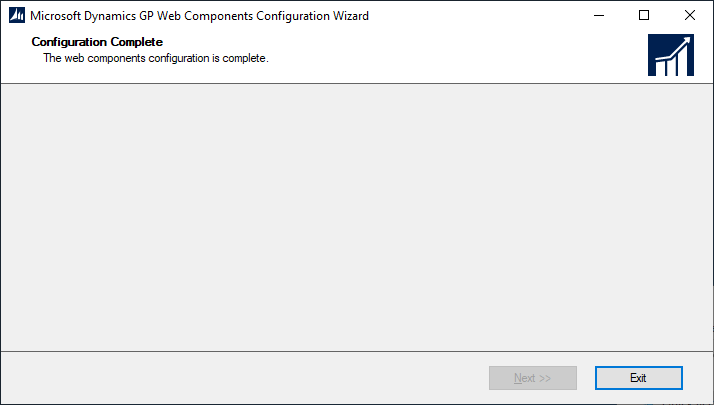 Microsoft Dynamics GP Web Components Configuration Wizard - Configuration Complete