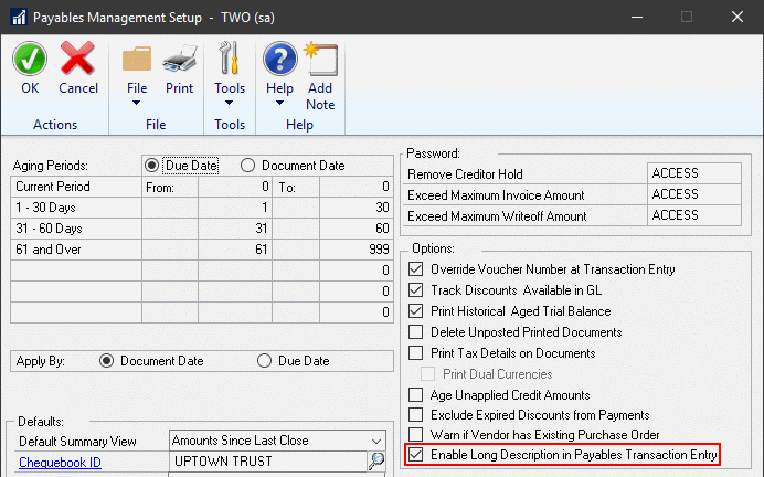 Payables Management Setup showing enable long description checkbox