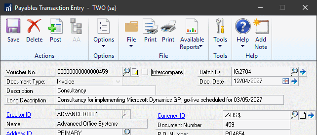 Payables Transaction Entry showing Long Description