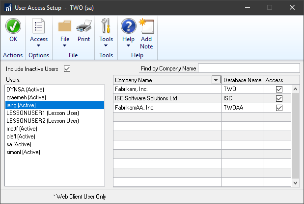 User Acces Setup in Company ID order