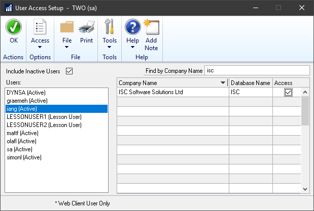User Access Setup showing results of searching for a company