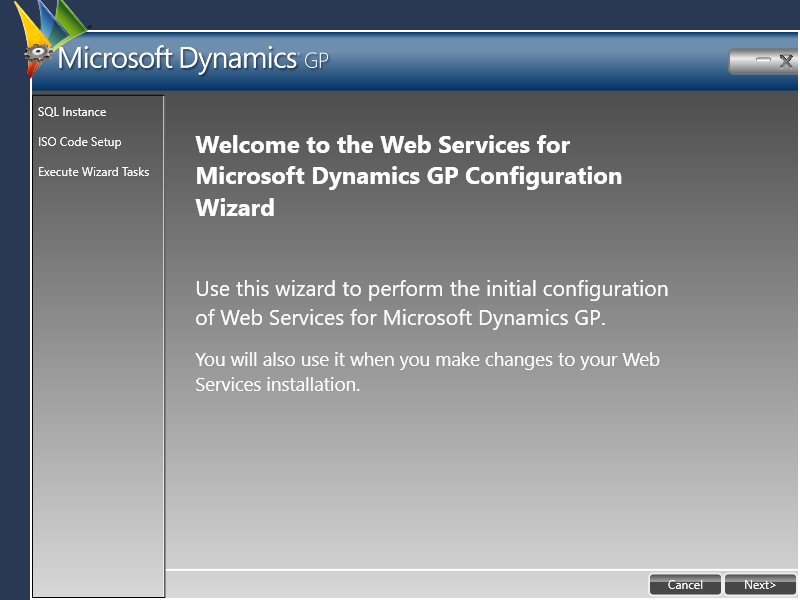 Web Services for Microsoft Dynamics GP Configuration Wizard -