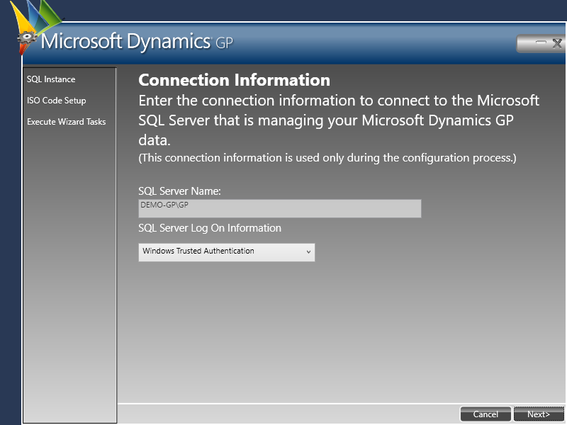 Web Services for Microsoft Dynamics GP Configuration Wizard - Connection Information