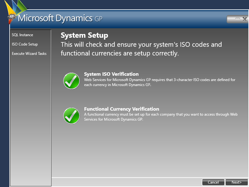 Web Services for Microsoft Dynamics GP Configuration Wizard - System Setup