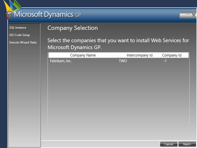 Web Services for Microsoft Dynamics GP Configuration Wizard - Company Selection