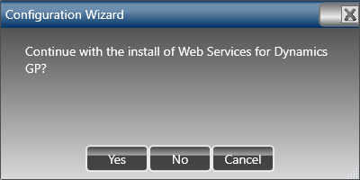 Configuration Wizard - Continue with the install of Web Services for Microsoft Dynamics GP