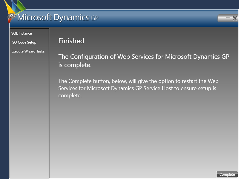 Web Services for Microsoft Dynamics GP Configuration Wizard - Finished