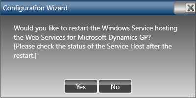 Web Services for Microsoft Dynamics GP Configuration Wizard - confirm restart of the service
