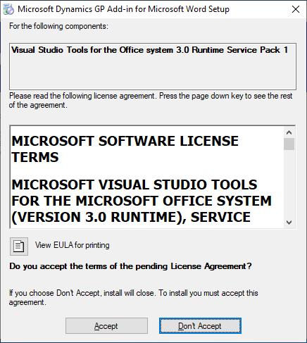 Microsoft Dynamics GP Add-in for Microsoft Word Setup