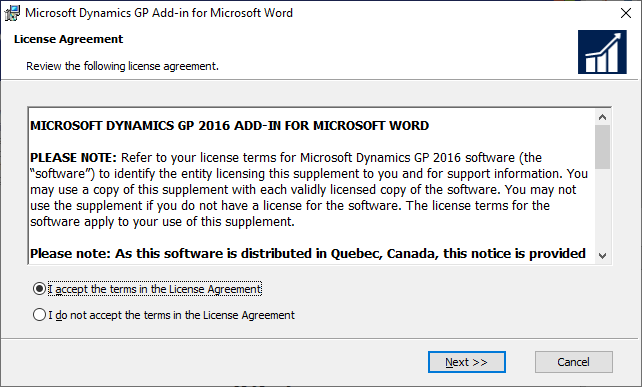 Microsoft Dynamics GP Add-in for Microsoft Word: License Agreement