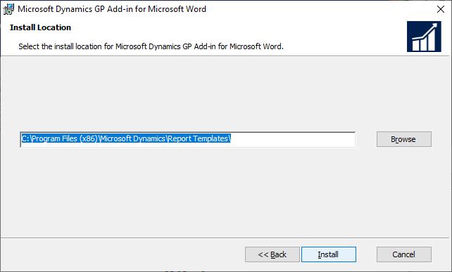 Microsoft Dynamics GP Add-in for Microsoft Word: Install Location
