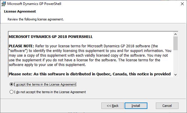 Microsoft Dynamics GP PowerShell: License Agreement