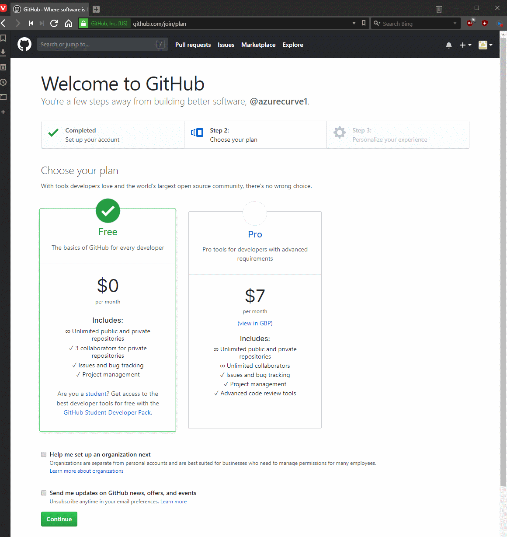 Welcome to GitHub and choose your plan
