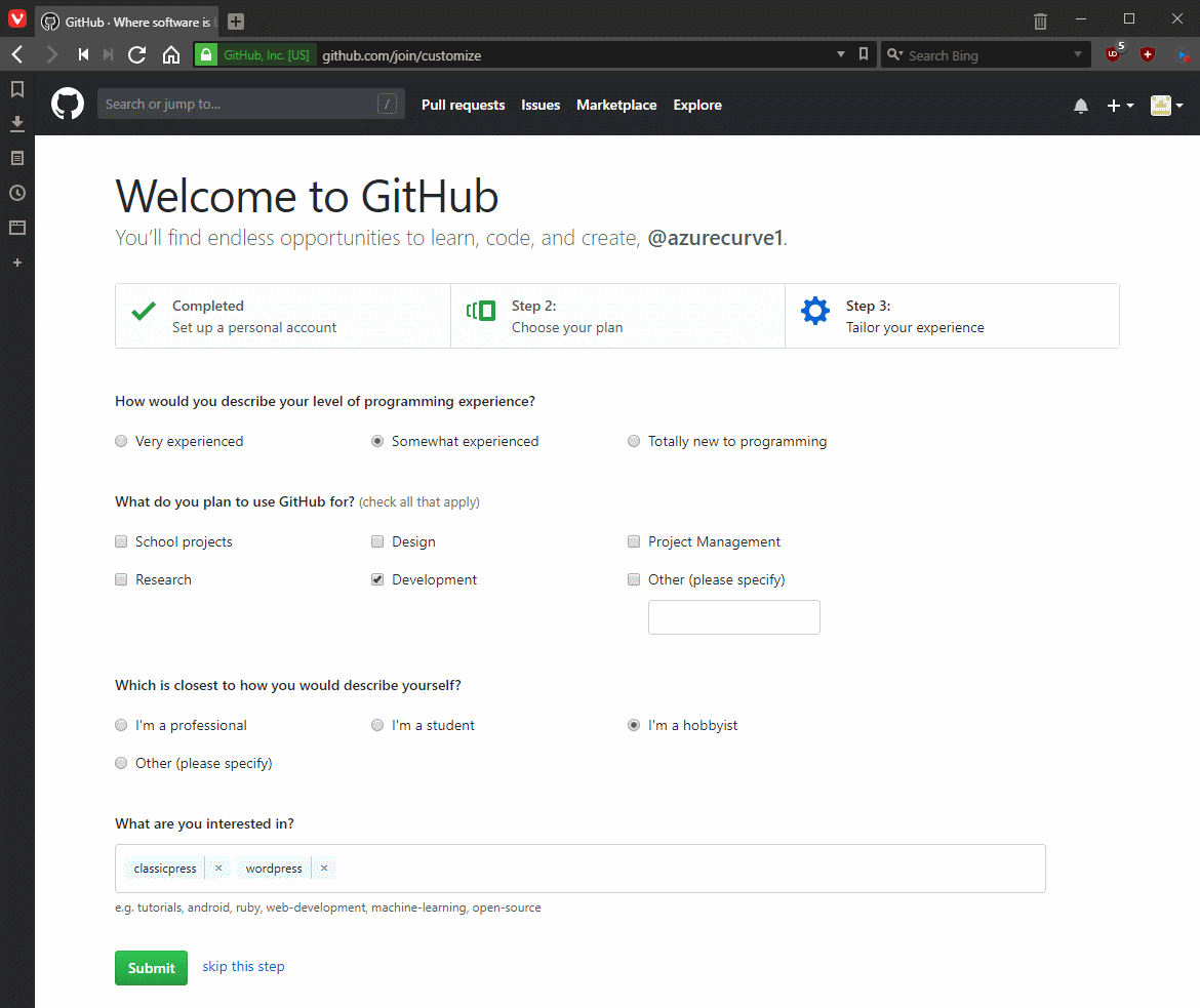 Tailor your GitHub experience
