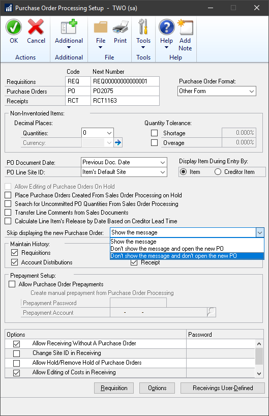 Purchase Order Processing Setup