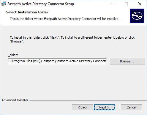 Fastpath Active Directory Connector Setup: Select Installation Folder