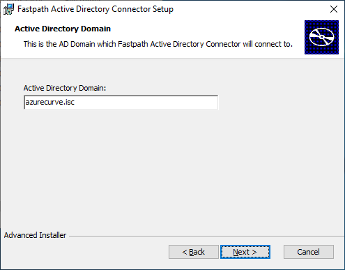 Fastpath Active Directory Connector Setup: Active Directory Domain
