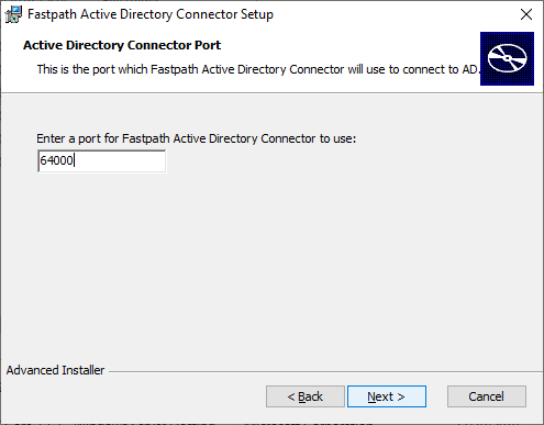 Fastpath Active Directory Connector Setup: Active Directory Connector Port