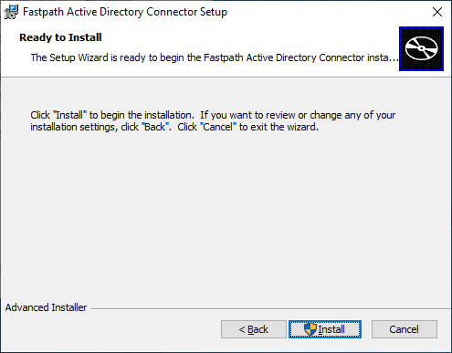Fastpath Active Directory Connector Setup: Ready to Install