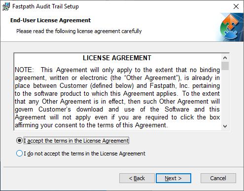 Fastpath Audit Trail Setup: End-User License Agreement