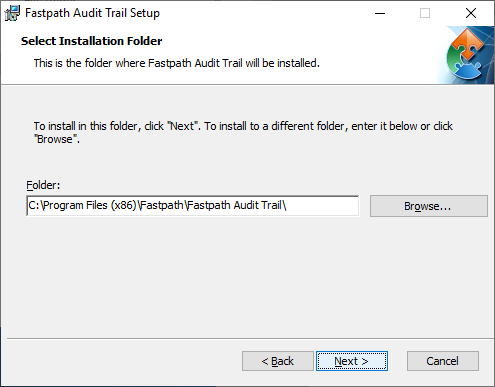 Fastpath Audit Trail Setup: Select Installation Folder