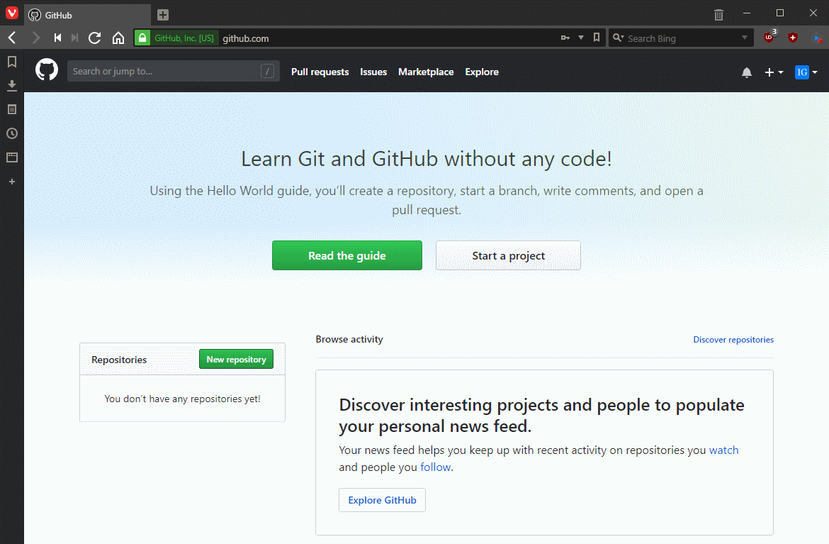 Create a new repository on GitHub