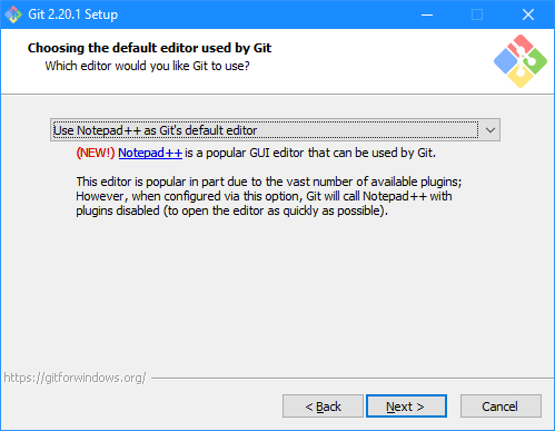 Git Setup: Choosing the default editor used by Git