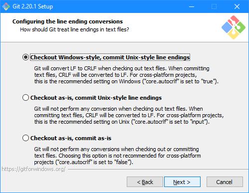 Git Setup: Configuring the line ending conversions