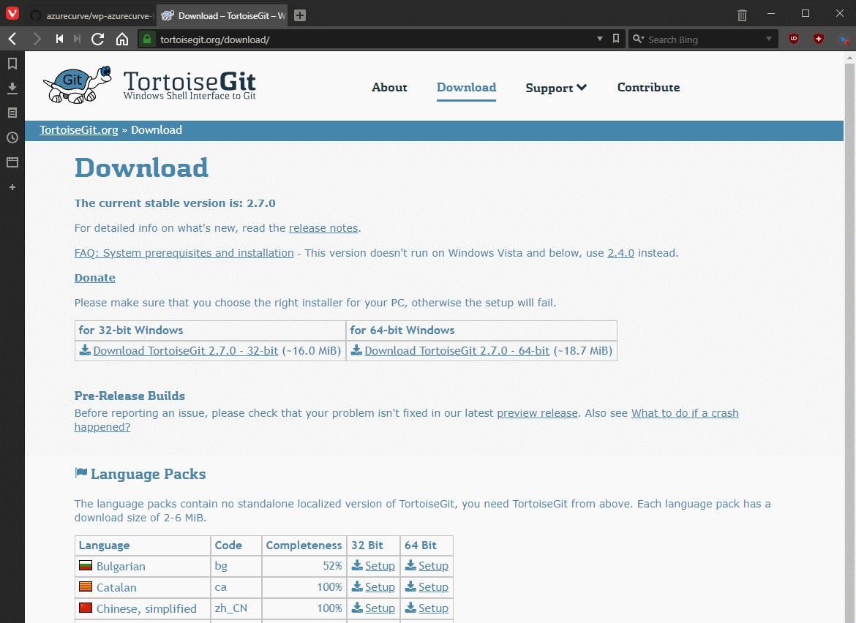 Download TortoiseGit application