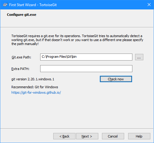 First Start Wixzard - TortoiseGit: Configure git.exe