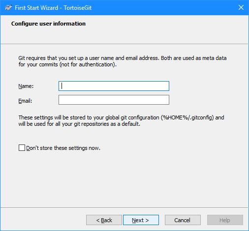 First Start Wixzard - TortoiseGit: Configure your user