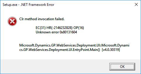 Clr method invocation failed