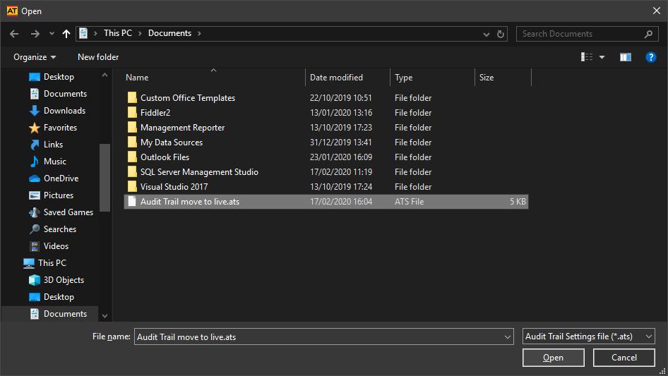 Open settings file