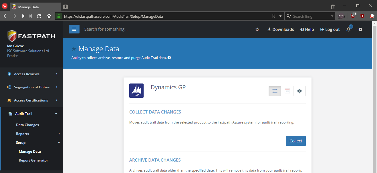 Collect Data changes