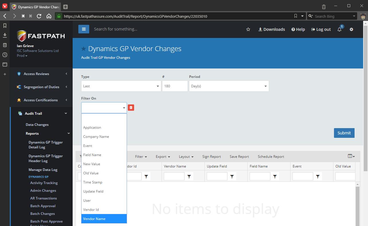 Dynamics GP Vendor Changes field filter