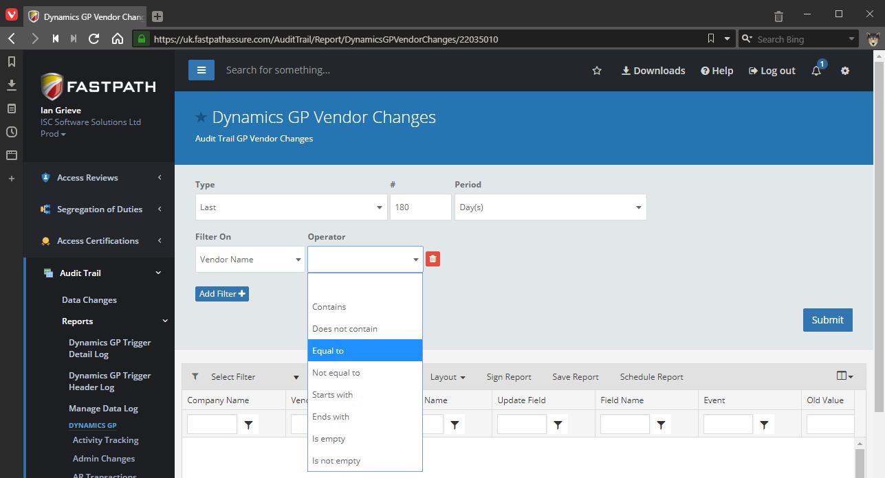 Dynamics GP Vendor Changes operator filter
