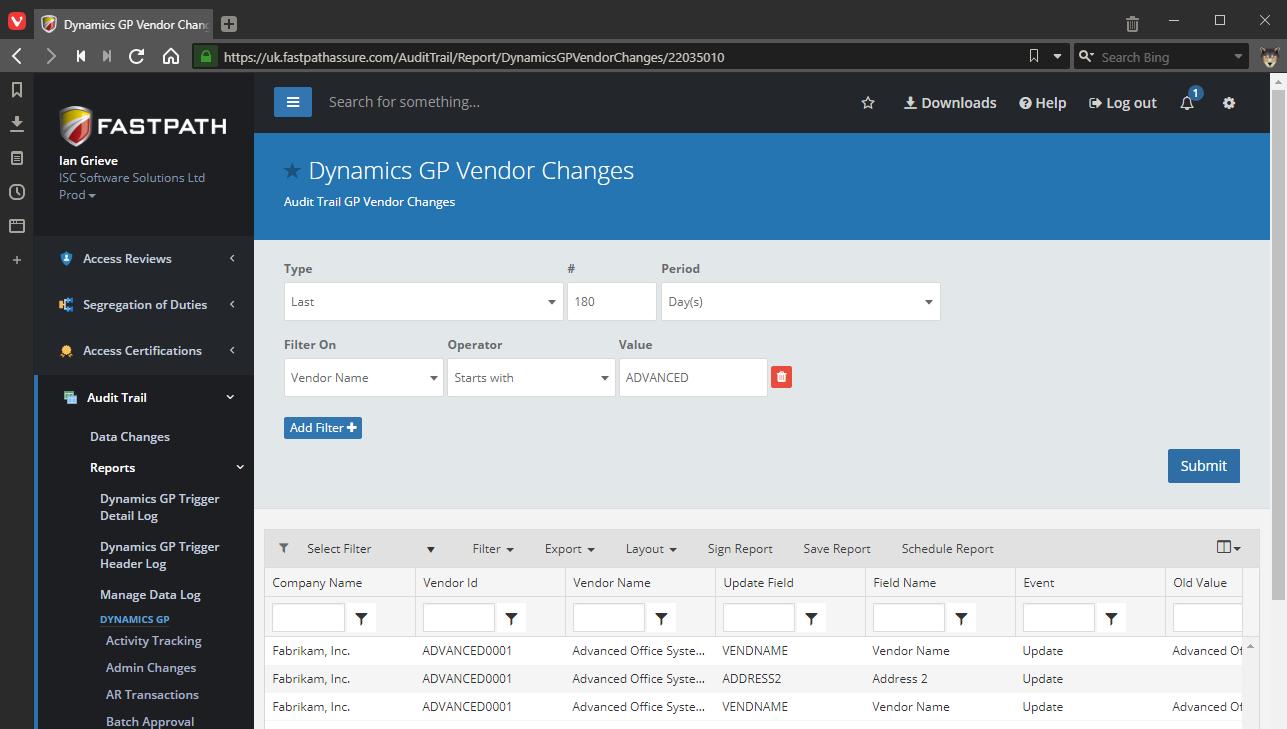 Dynamics GP Vendor Changes returned data