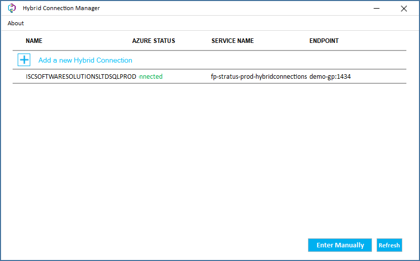 Hybrid Connection Manager showing added connection