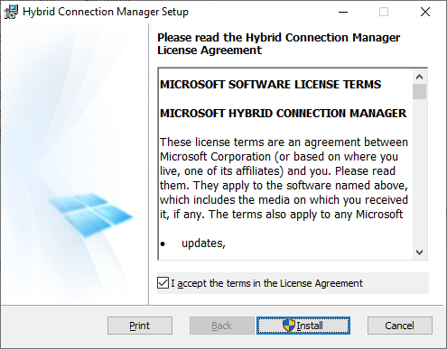Hybrid Connection Manager Setup - License Agreement
