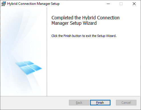 Hybrid Connection Manager Setup - Completing the Hybrid Connection Manager Setup Wizard