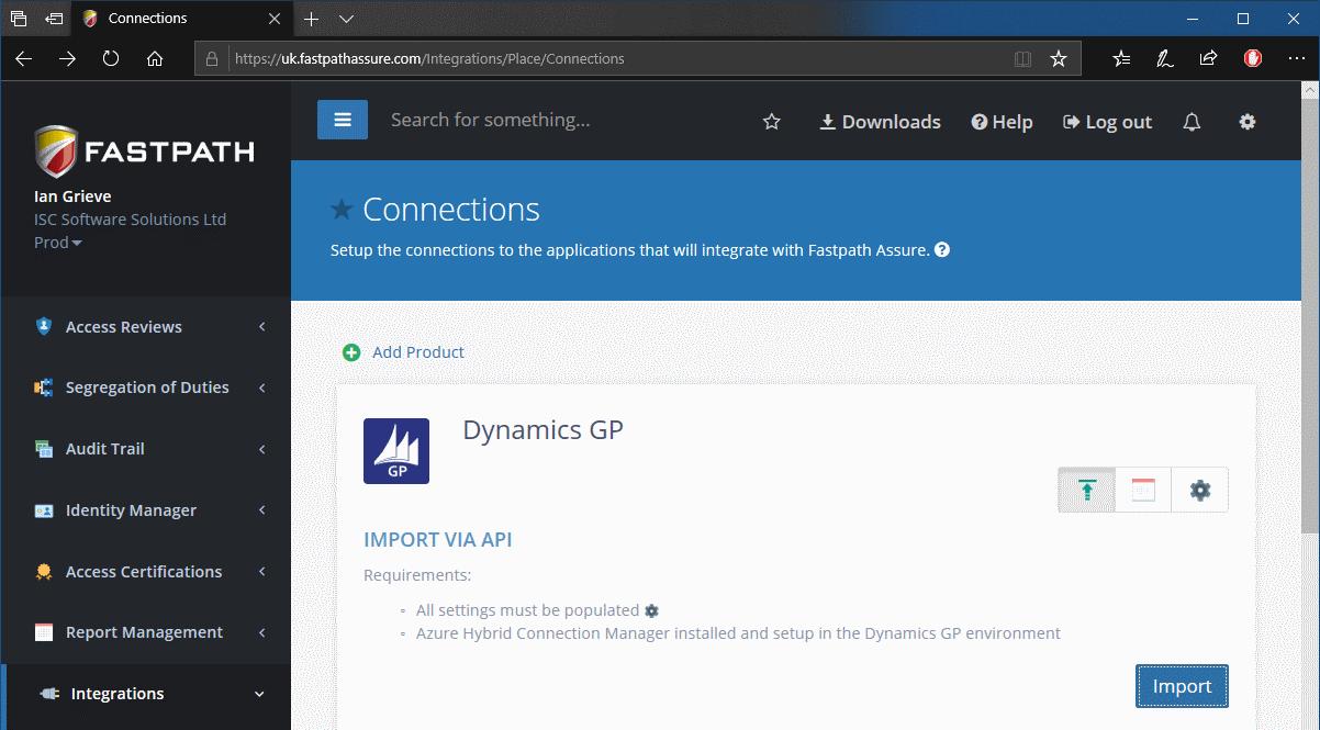 Fastpath Assure portal - Import via API